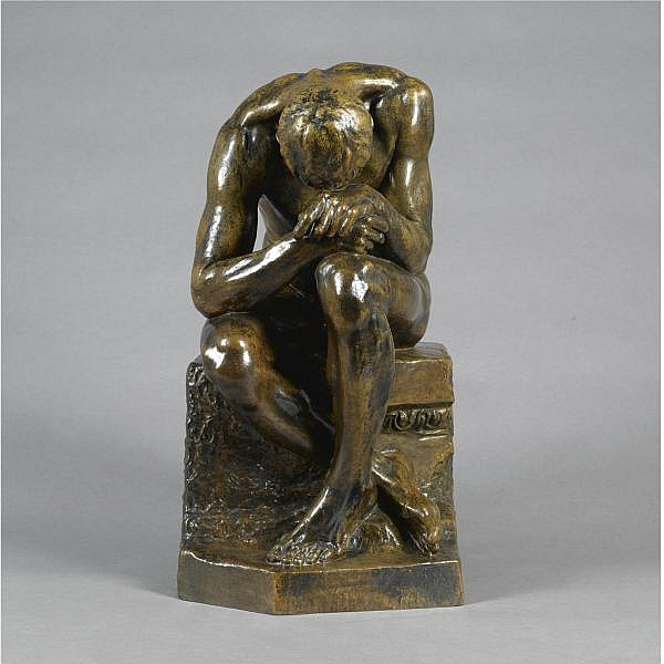 * Dimitriadis , Greek 19-20th Century   Seated man bronze, light brown patina