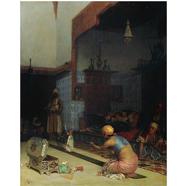 Theodoros Ralli , Greek 1852-1909 Marionettes in the Harem oil on canvas