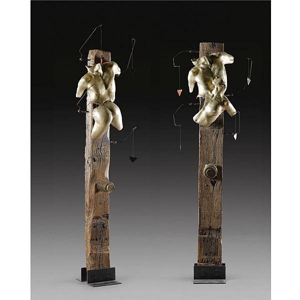 - Panayiotis Vassilakis Takis , Greek b. 1925 Torso; a pair bronze and metal on a wood base