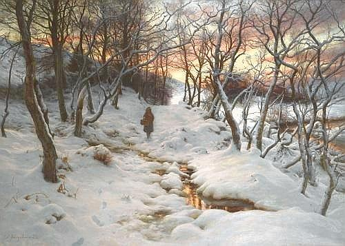 JOSEPH FARQUHARSON R.A. 1846-1935 WHEN THE WEST WITH EVENING GLOWS 100 by 137 cm., 39.25 by 54 in. signed l.l.: J. Farquharson oil on canvas Provenance: Sir Jeremiah Colman Bt., Gatton Park, Reigate; Christie's, 18 September 1942, lot 71 to 'De