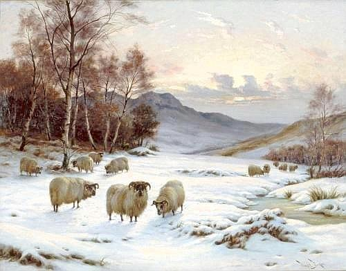 WRIGHT BARKER 1864-1941 WINTER PASTURE 70 by 91 cm., 27.5 by 35.75 in. signed l.r.: Wright Barker oil on canvas Provenance: Private collection