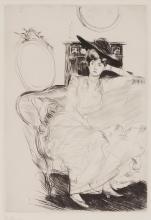 PAUL CÉSAR HELLEU, FRENCH (1859 - 1927) | Jeune femme assise sur un canapé
