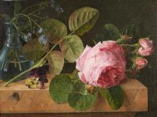 AGATHE PILON, FRENCH (ACTIVE MID-19TH CENTURY) | Roses on a Ledge