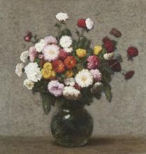 VICTORIA DUBOURG FANTIN-LATOUR,  FRENCH (1840-1926) | Bouquet de zinnias dans un vase boule