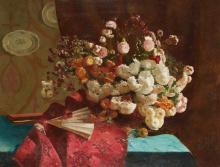 JOSEPH AUGUSTIN FONTAN, FRENCH (MID 19TH CENTURY) | Bouquet de fleurs et éventail