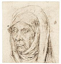 GERMAN SCHOOL, EARLY 16TH CENTURY | <em>Recto</em>: Head of an old woman (St. Anne?);<br /><em>Verso</em>: fragmentary study of the legs of a figure seated in a landscape