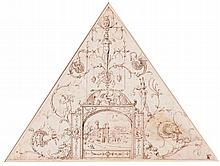 CIRCLE OF PERINO DEL VAGA | Design for a triangular section of a ceiling decoration with grotesques and a landscape with a Roman ruin
