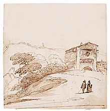 GIOVANNI FRANCESCO BARBIERI, CALLED IL GUERCINO | A landscape with a building on the right and figures