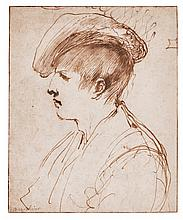 GIOVANNI FRANCESCO BARBIERI, CALLED IL GUERCINO | Study of a young man wearing a hat, in profile