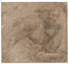 LUDOVICO CARRACCI | A bearded man, leaning on a ledge, resting his head against his fist