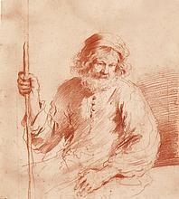 GIOVANNI FRANCESCO BARBIERI, CALLED IL GUERCINO | A seated man holding astaff