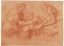 LUCA GIORDANO | <em>Recto:</em> Isaac blessing his son Jacob<br /><em>Verso:</em> A sketch for Samson and Delilah and a separate study of a gentlemen in armor, almost half length