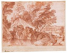 JACQUES ROUSSEAU | A wooded landscape with figures by a lake