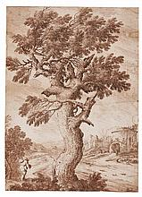 LUDOVICO MATTIOLI | A tree by the roadside, a traveler in the foreground