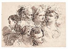GAETANO GANDOLFI | Six studies of heads, some with elaborate hairstyles