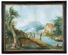 GIUSEPPE BERNARDINO BISON | A pair of river scenes:<br />A) A river scene with a watermill<br />B) A river scene with a weir