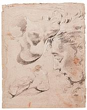 GIOVANNI BATTISTA TIEPOLO | <em>Recto</em>: a sheet of several studies: a foot, a head of a youth in profile, and two bottles<br /><em>verso:</em> study of a right arm with a closed hand