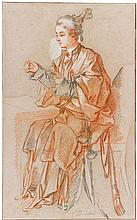 FRANÇOIS BOUCHER | Study of a young Chinese woman seated at a table