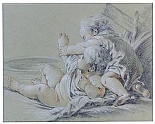 FRANÇOIS BOUCHER | Two children beside a basin of water