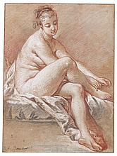 FRANÇOIS BOUCHER | Study of a seated young female nude extending her hands to her right foot