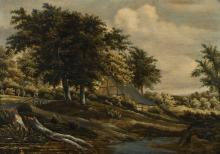 FOLLOWER OF MEINDERT HOBBEMA | Acottage by a stream in a wooded landscape
