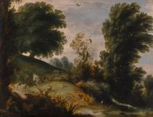 GIJSBRECHT LEYTENS | A wooded landscape with a shepherd tending his flock on a riverbank