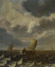 CORNELIS LEONARDSZ. STOOTER   Ships on choppy waters