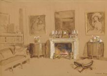 WALTER GAY | Interior with Fireplace