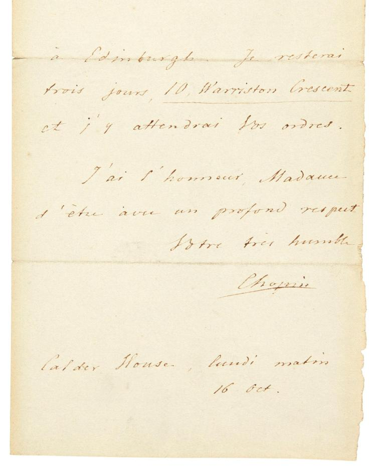 F. CHOPIN, AUTOGRAPH LETTER SIGNED TO LADY BELHAVEN, WRITTEN FROM CALDER HOUSE, NEAR EDINBURGH, 1848