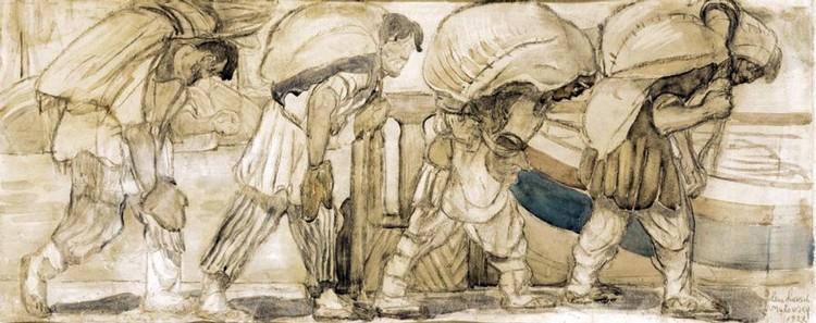 ELENA LUKSCH-MAKOVSKY, 1878-1967 VOLGA BARGE-HAULERS