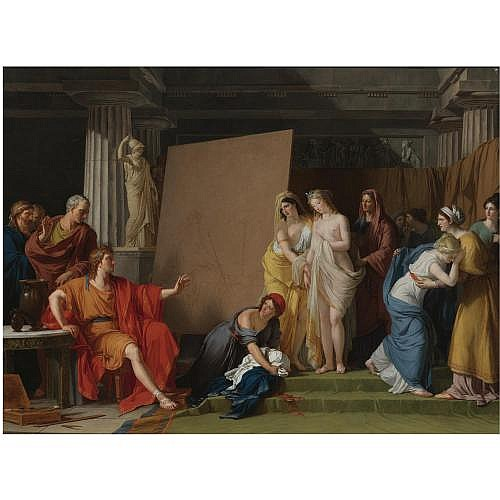 François-André Vincent Paris 1746 - 1816 , Zeuxis Choosing his models for the image of Helen from Among the girls of Croton