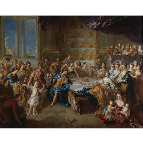 François de Troy Toulouse 1645 - 1730 Paris , The Feast of Dido and Aeneas: An Allegorical Portrait of the Family of the Duc and Duchesse du Maine