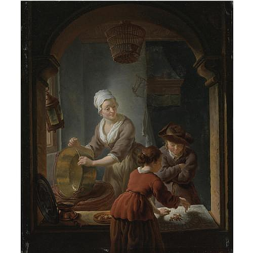 Louis de Moni Breda 1698 - 1771 Leiden , An Interior with a kitchen maid cleaning a copper pot and a youth and young woman playing Jeu de L'Oie