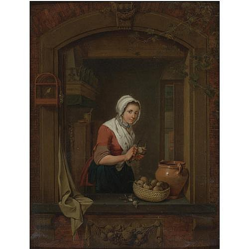 Jacobus Johannes Lauwers Bruges 1753 - 1800 Amsterdam , Young Woman at a Window Pealing Radishes