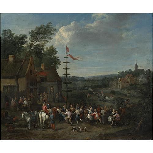Karel Breydel Antwerp 1678 - 1733 , A Village Fair with Figures Dancing Around a Maypole