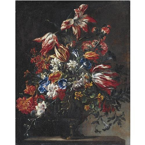 Francesco Mantovano Recorded in Venice from 1636 - 1663 , Still Life of Tulips, Morning Glories and other Flowers in a Vase