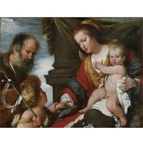 Bernardo Strozzi Genoa 1581 - 1644 Venice , Holy Family with the Infant Baptist