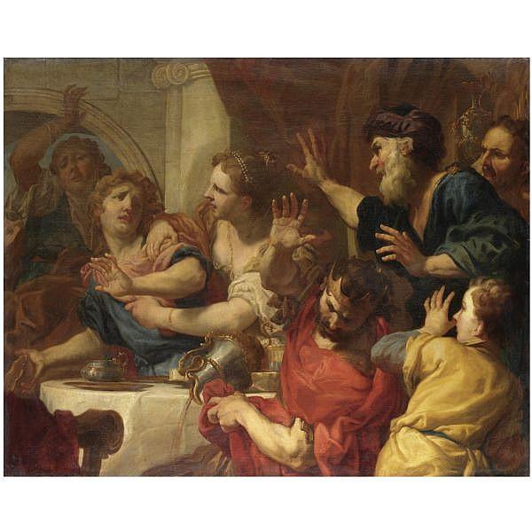 Antonio Molinari , Venezia 1655-1704 Il convito di Baldassarre olio su tela
