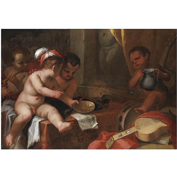 Giovanni Andrea Podestà , Genova 1608-dopo il 1674 Putti come allegoria della Musica olio su tela