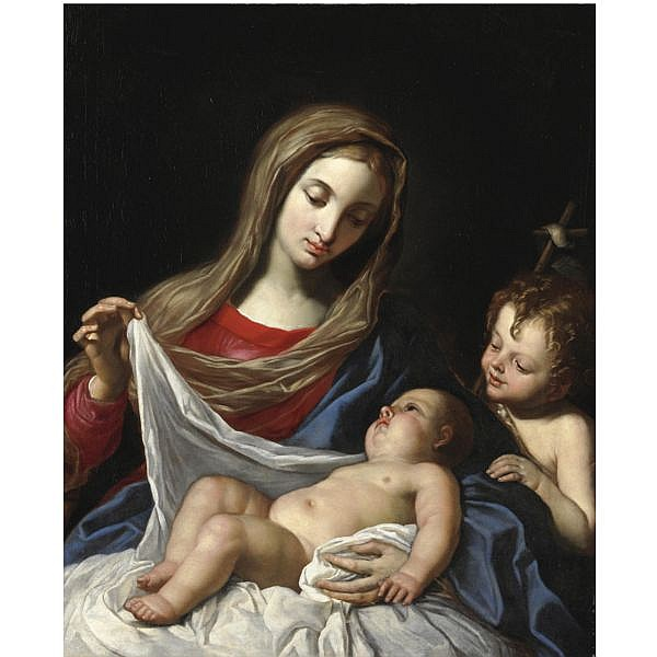 Angelo Massarotti , Cremona 1654-1723 Madonna col Bambino e San Giovannino olio su tela