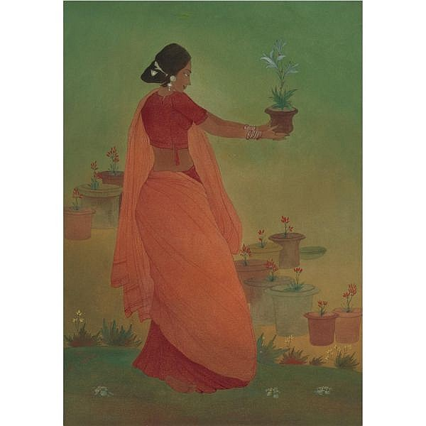 A. R. Chughtai (1897-1975) , Flower Gatherer Gouache on paper