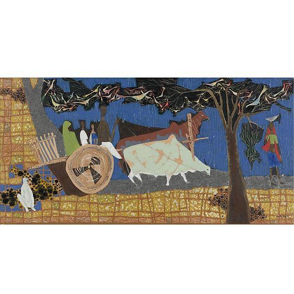 Shanti Dave (b. 1931) , Under the Shade Oil on canvas