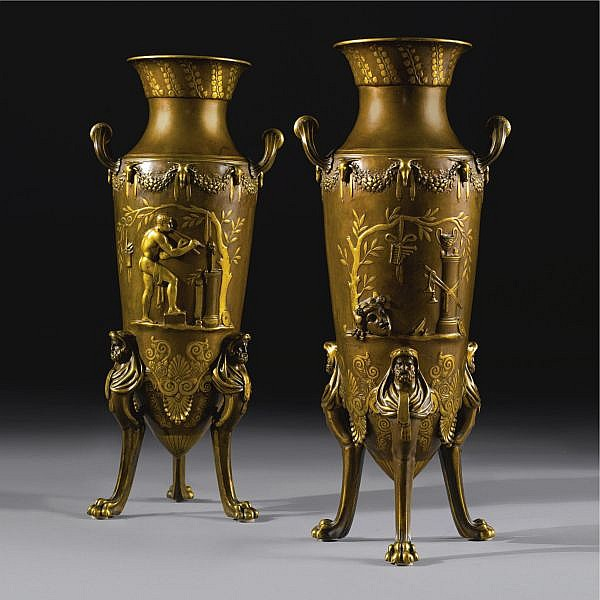 Ferdinand Levillain 1837-1905 A pair of Neo-Grec gilt and patinated bronze amphora vases   Paris, circa 1890, cast by Ferdinand Barbedienne