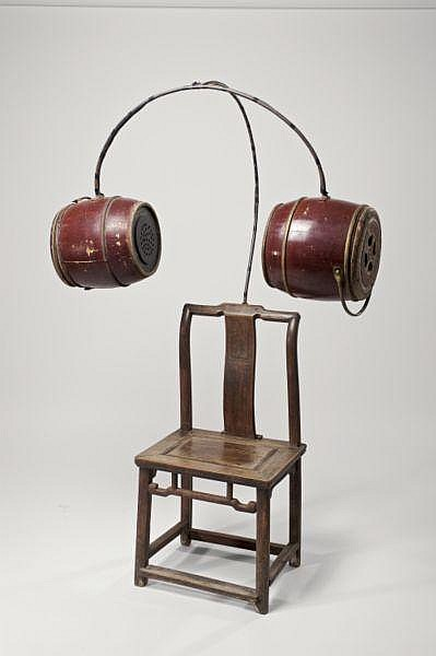 Chen Zhen , 1955-2000 Chair of Concentration mixed media (chair, chamber pots, sound system)