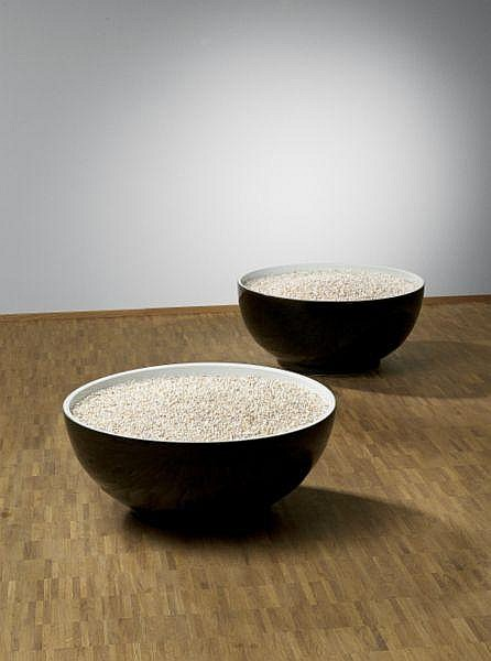 Ai Weiwei , b. 1957 Bowl of Pearls (Set of Two) coloured porcelain and clear water pearls