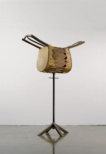 Chen Zhen , 1955-2000 Un-interrupted Voice chair, metal, string, and cowhide