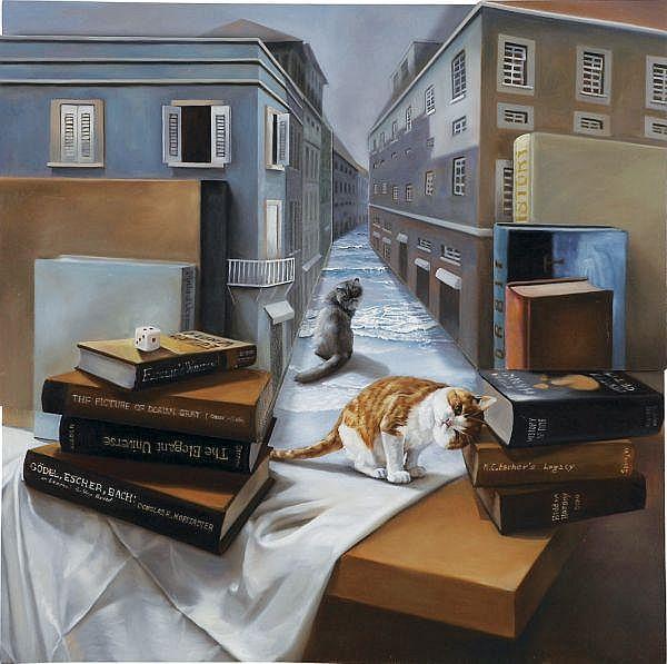 Lee Kyung Mi , b. 1977 Street on the Table I oil on woodpanel