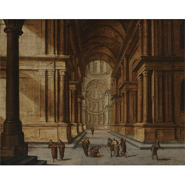 Hans Jurriaensz. van Baden , Baden 1604 - 1677 Amsterdam A church interior with Christ and the woman taken in adultery oil on panel