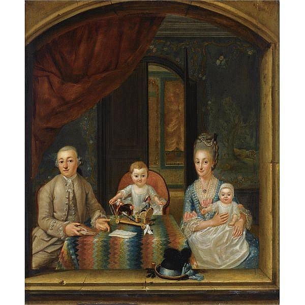 Attributed to Hieronymus Lapis , possibly Venice 1723 - 1798 The Hague A family portrait of a gentleman and his wife, with their two children, seated around a table in an elegant room, in front of a window, a miniature wooden horse-and-carriage on