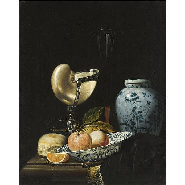 Juriaan van Streek , Amsterdam(?) 1632 - 1687 Amsterdam still life with peaches and an orange in a porcelain Wan-Li kraak bowl, a Chinese ovoid shaped porcelain jar, and a silver-gilt nautilus cup, together with a fluit and another glass, a bread